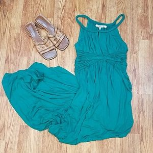 Boho Aqua Green Maxi Dress Medium